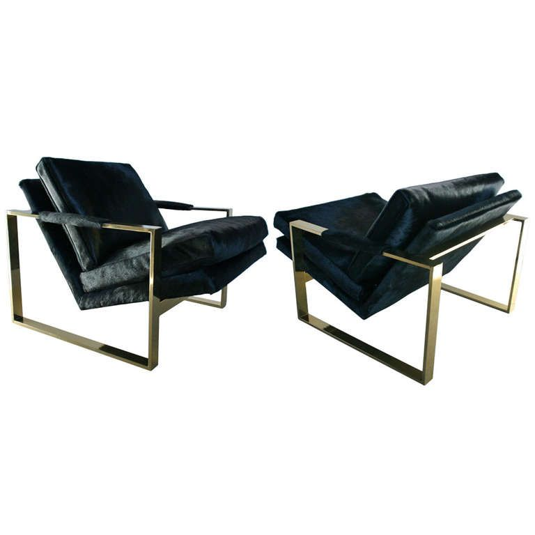 pair of milo baughman brass hair cowhide square framed arm chairs from a unique collection of antique and modern lounge chairs at camila lounge chair 07