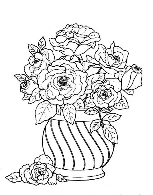 arranging flowers in a round vase for beautify a house coloring pages