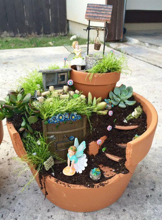 Mini jardin de fées avec un pot de fleur cassé | jardin japonais ...
