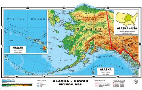 NEW MAP XXL 71 Inches Original Relief Alaska Hawaii Physical