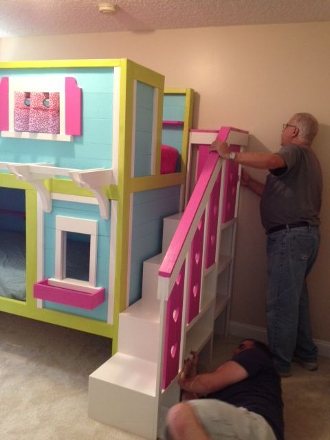 our sweet pea bunk beds do it yourself home projects from ana white farmhouse pinterest. Black Bedroom Furniture Sets. Home Design Ideas