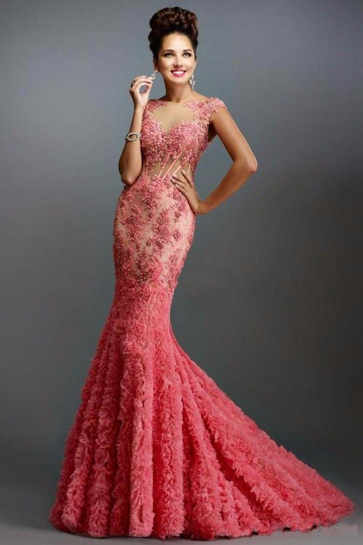 2016 Hot Sale Mermaid Prom Dresses Sheer Bateau Backless ...