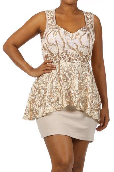 shop kami shade' - plus size cream gold lace sparkle peplum dress
