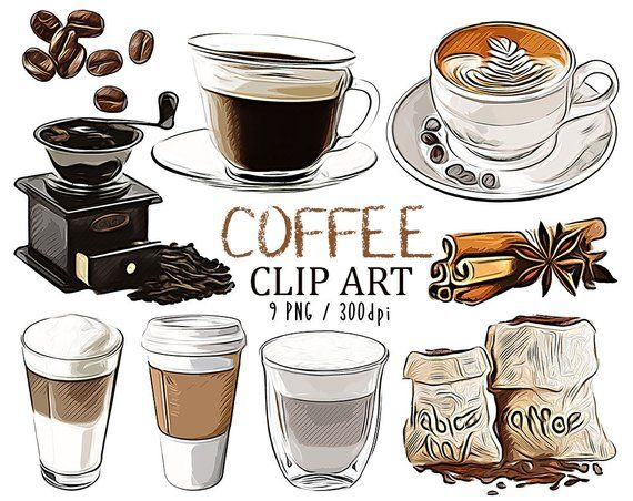 Coffee Cup Clipart Set Coffee Shop Cafe And Pastries Coffee Etsy In 2020 Coffee Cup Art Coffee Drawing Coffee Cup Clipart