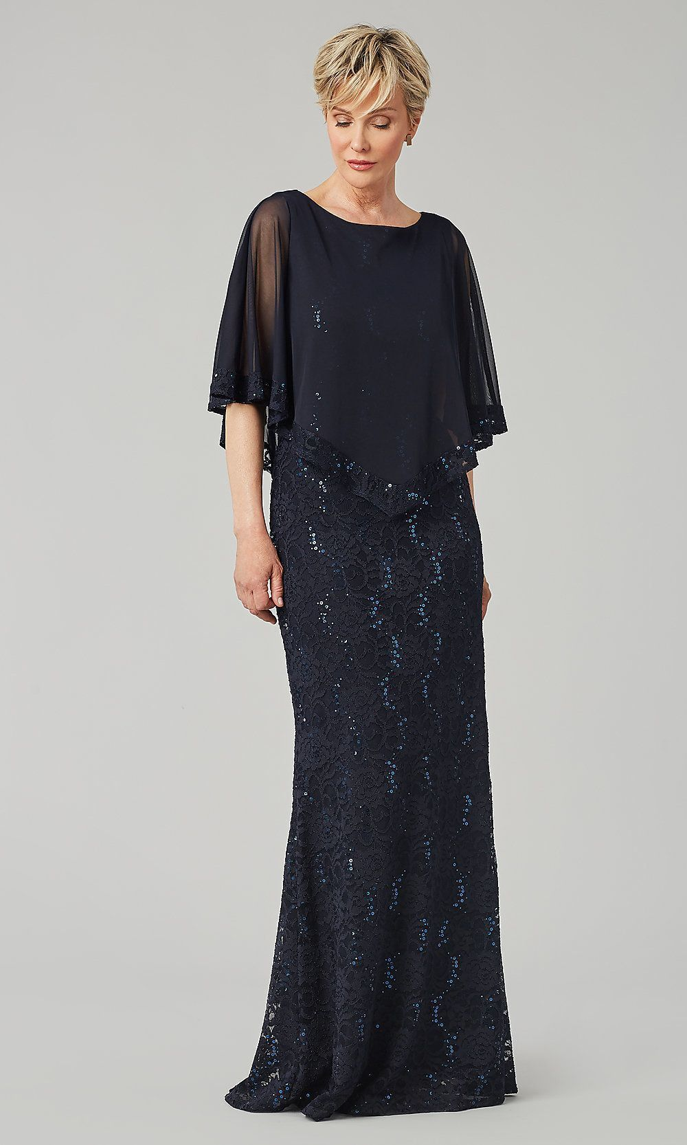 long navy sequin-lace mob dress with sheer capelet