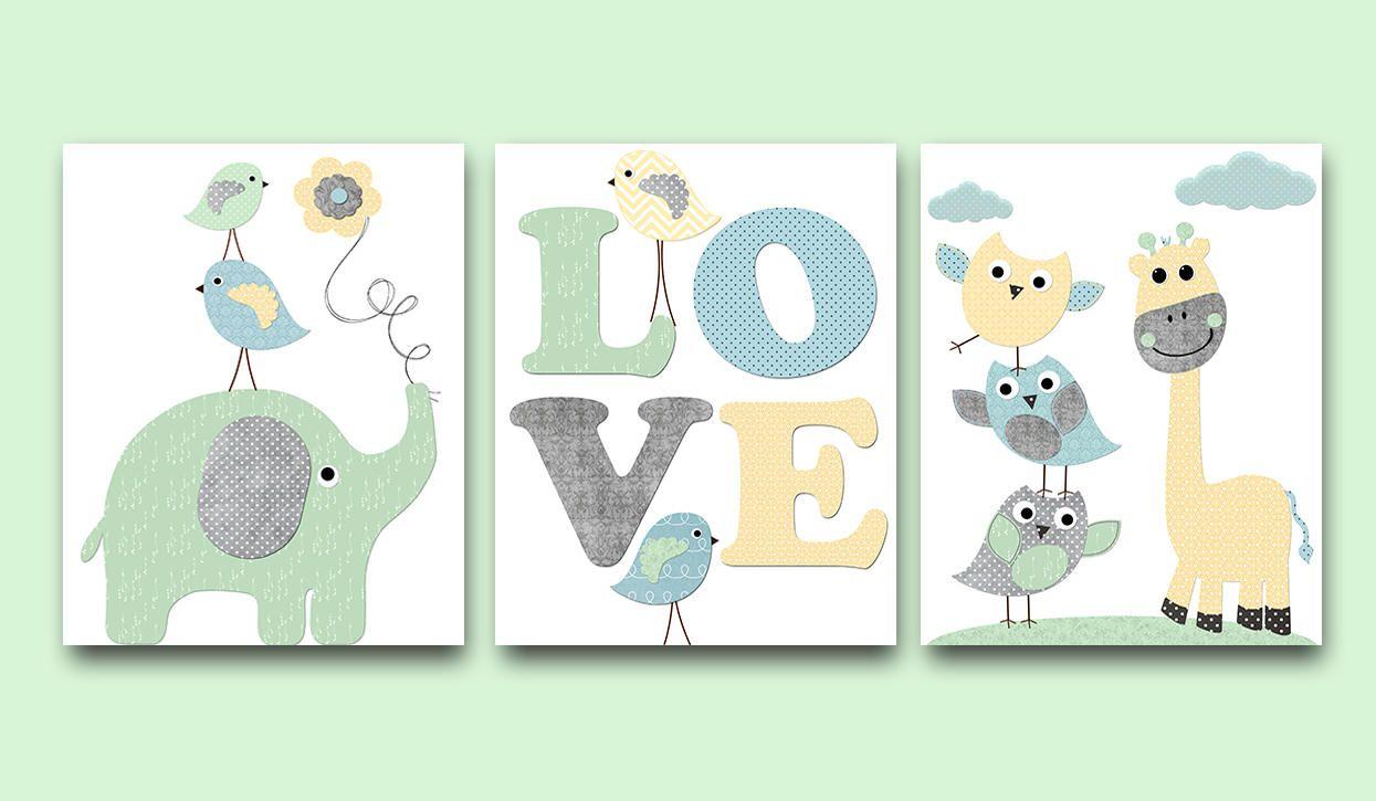 Blue Grey Green Yellow Owl Elephant Giraffe Decor Stickers Canvas Nursery Print Baby Boy Wall Decor Kids Room Decor Kids Art Set Of 3 Baby Wall Decor Boy Baby Room Wall