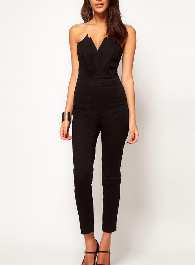 $40.99 Pre-sale Black Strapless V-neck Jumpsuit @ MayKool.com