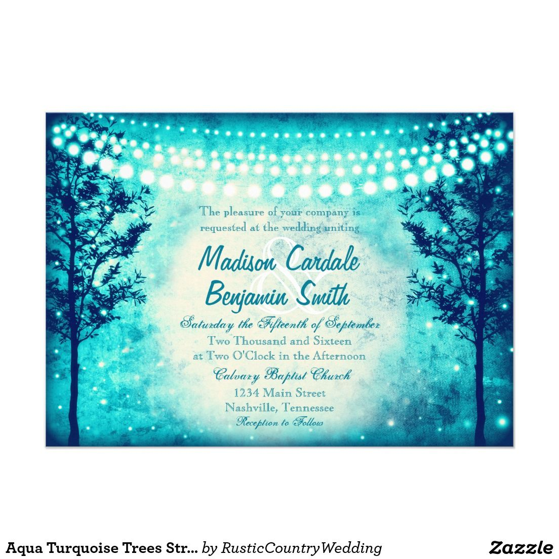 Aqua Turquoise Trees String Lights Wedding Invitations #wedding
