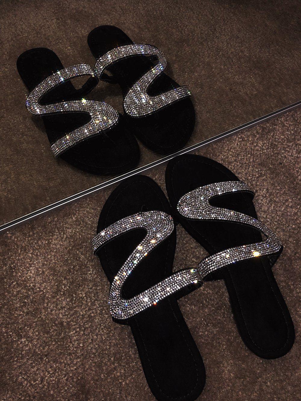 Women/'s Rhinestone Glitter Sandals Slipper Flip Flops Open Toe Beach Flat Shoes