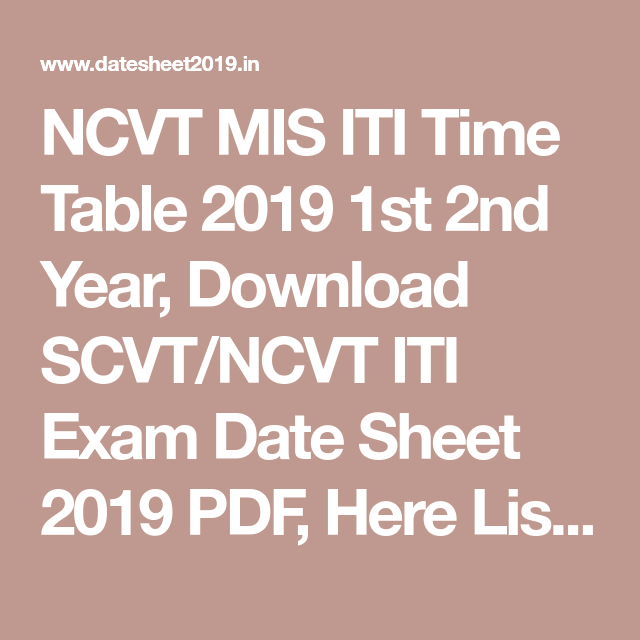 NCVT MIS ITI Time Table 2019 1st 2nd Year, Download SCVT
