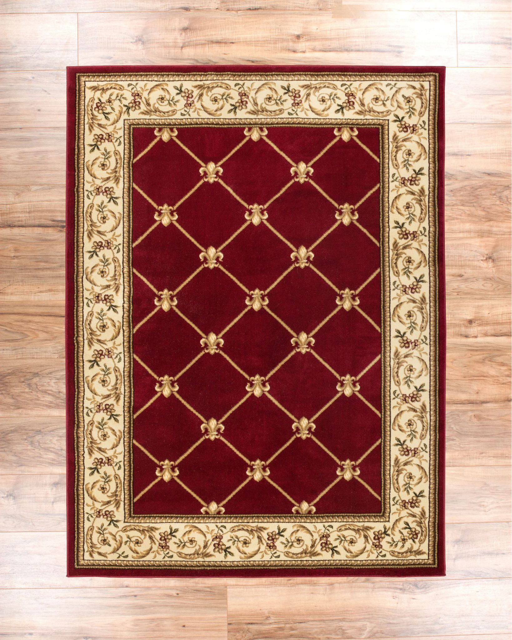 Patrician Trellis Red European Traditional Area Rug