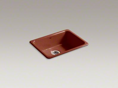 Iroton Cast Iron Sink In Ember Red 24 1/4x18 3/4