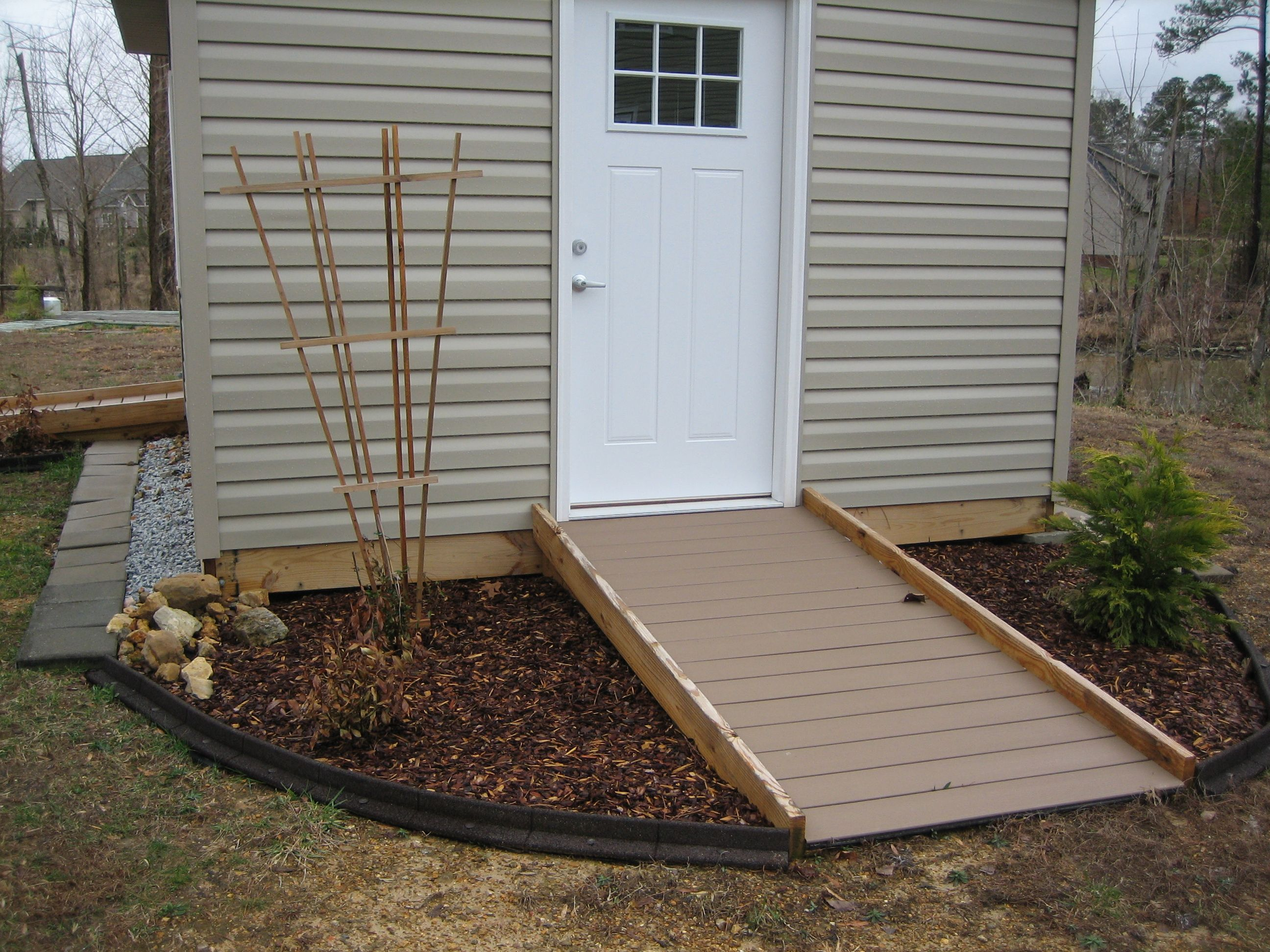newly storage sprucing stain our ramp stained a staining sheds shed com up for closeup momhomeguide