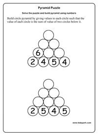 math worksheet : grade 1 math pyramid puzzle worksheetsactivity sheets for kids  : Maths Puzzle Worksheets