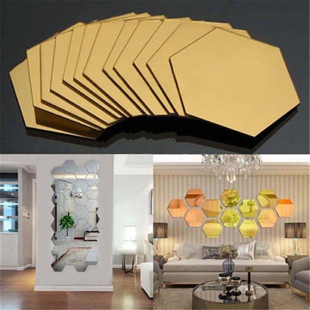 GUAngqi 12Pcs Luxury Wall Sticker DIY 3D Mirror Hexagon Vinyl ...