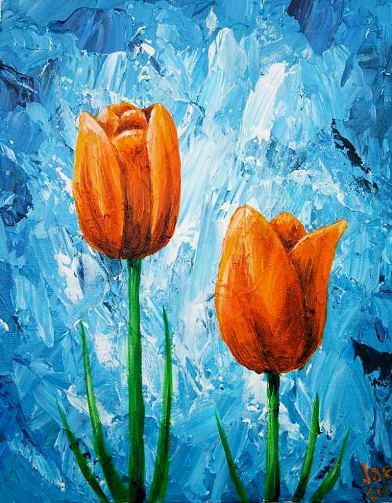 Tulips painting orange flowers acrylic painting 8x10 by for Floral acrylic paintings