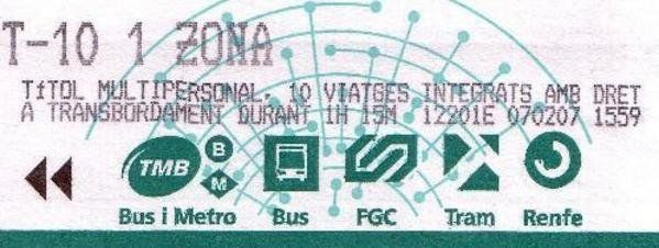 Metro ticket Barcelona