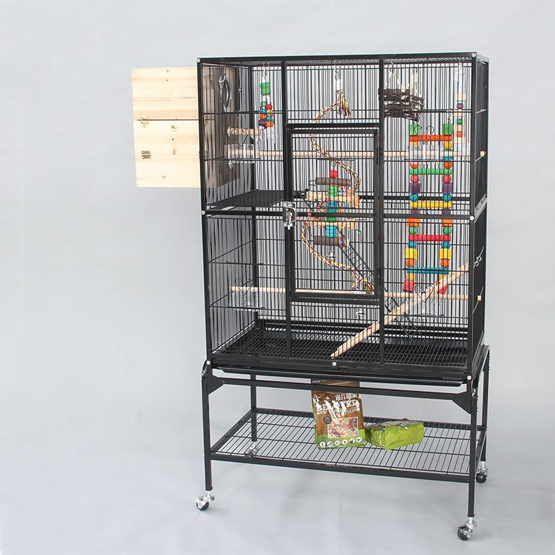7affc33b9 European Style Luxury Iron Metal Flat-top Large Parrot Cage With Stand And  Bird Chewing Biting Toys For Gray Parrot Big Bird B09