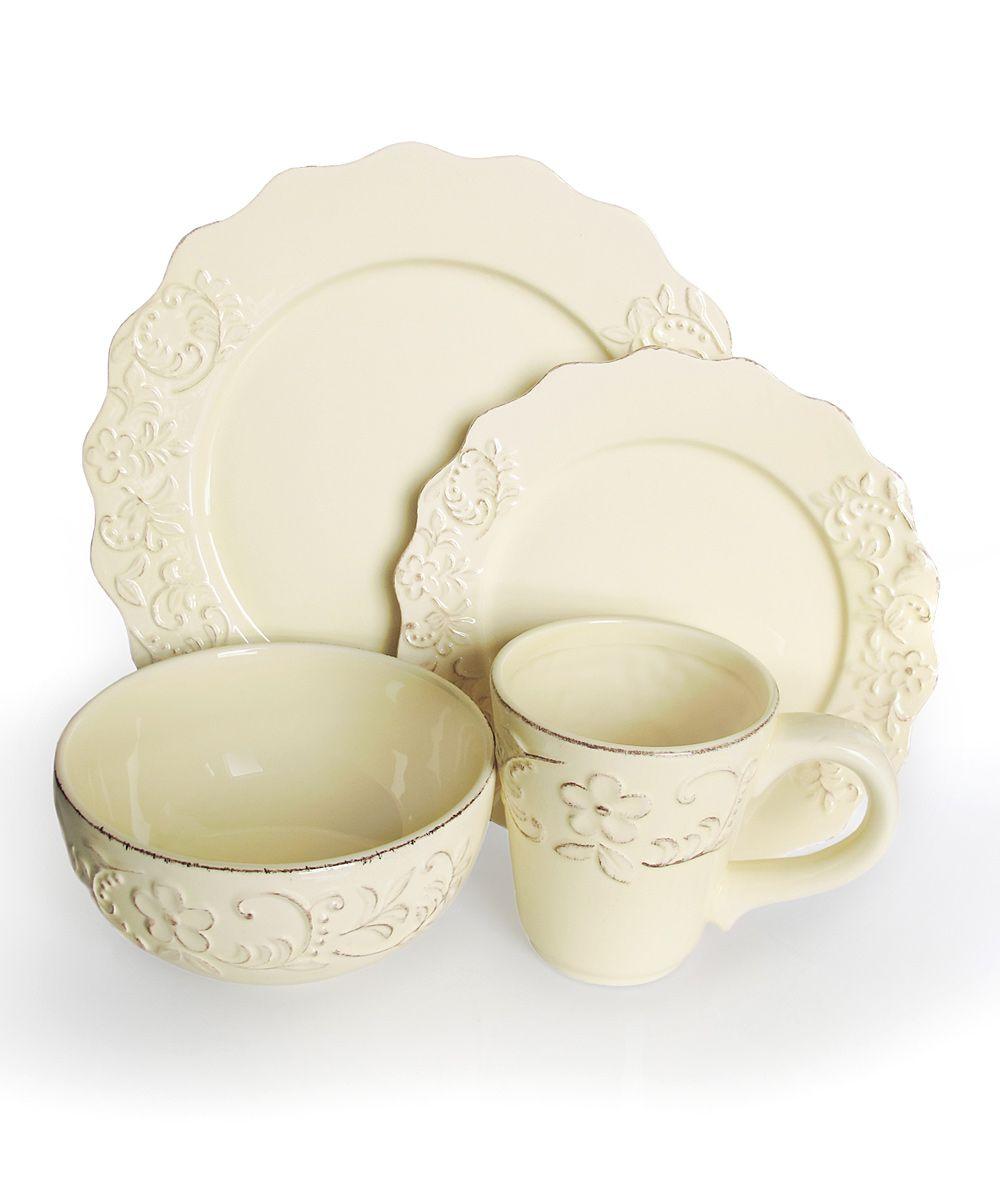 bianca petals cream dinnerware set