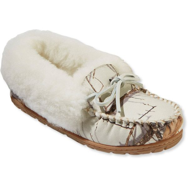 L.L.Bean Women's Wicked Good Moccasins, Print ($79) ❤ liked on Polyvore featuring shoes, loafers, mocassin shoes, mocasin shoes, camouflage footwear, patterned shoes and fur shoes