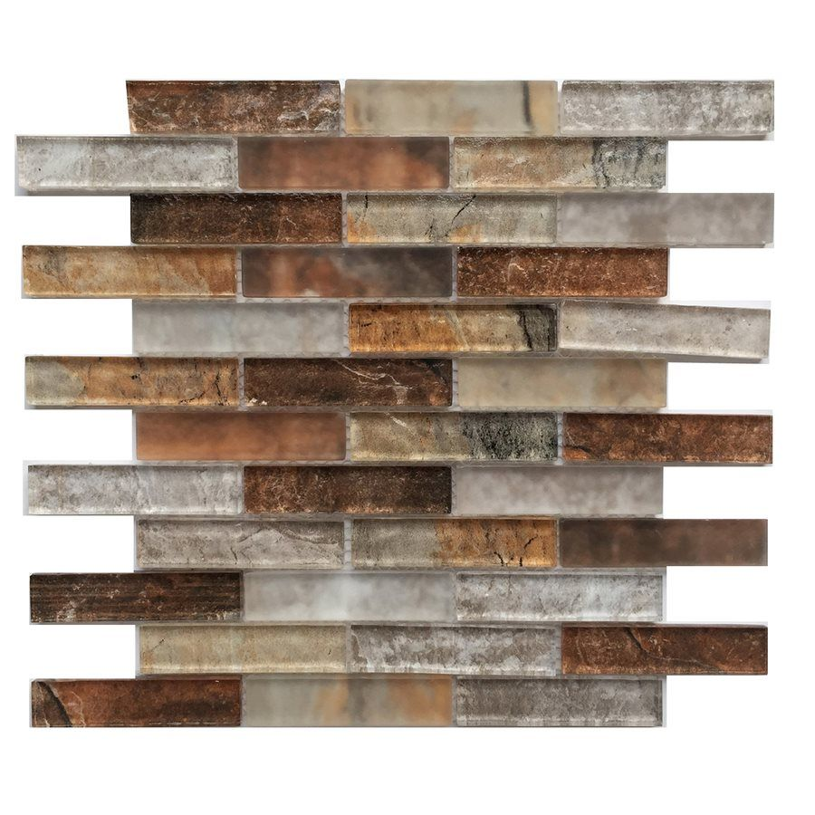 Shop Bestview Grey Umber 12-in x 12-in Glass Linear Mosaic Wall ...