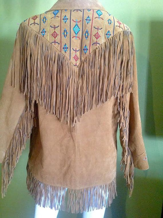 Suede fringed jacket with embroidering by DesignsbyDDT on Etsy