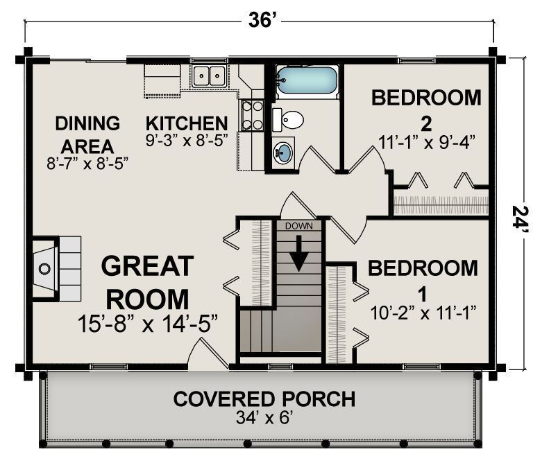 Ranch Home Plan 864 Sq Ft 1 8 1 4 Scale Floor Plan Style Open Concept Porch Ebay Small Cottage Plans Garage House Plans Guest House Plans