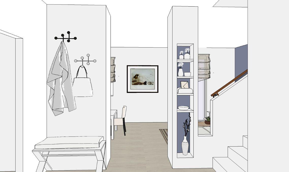 Progetto di interni ingresso entryway progettazione for Interni e progetti