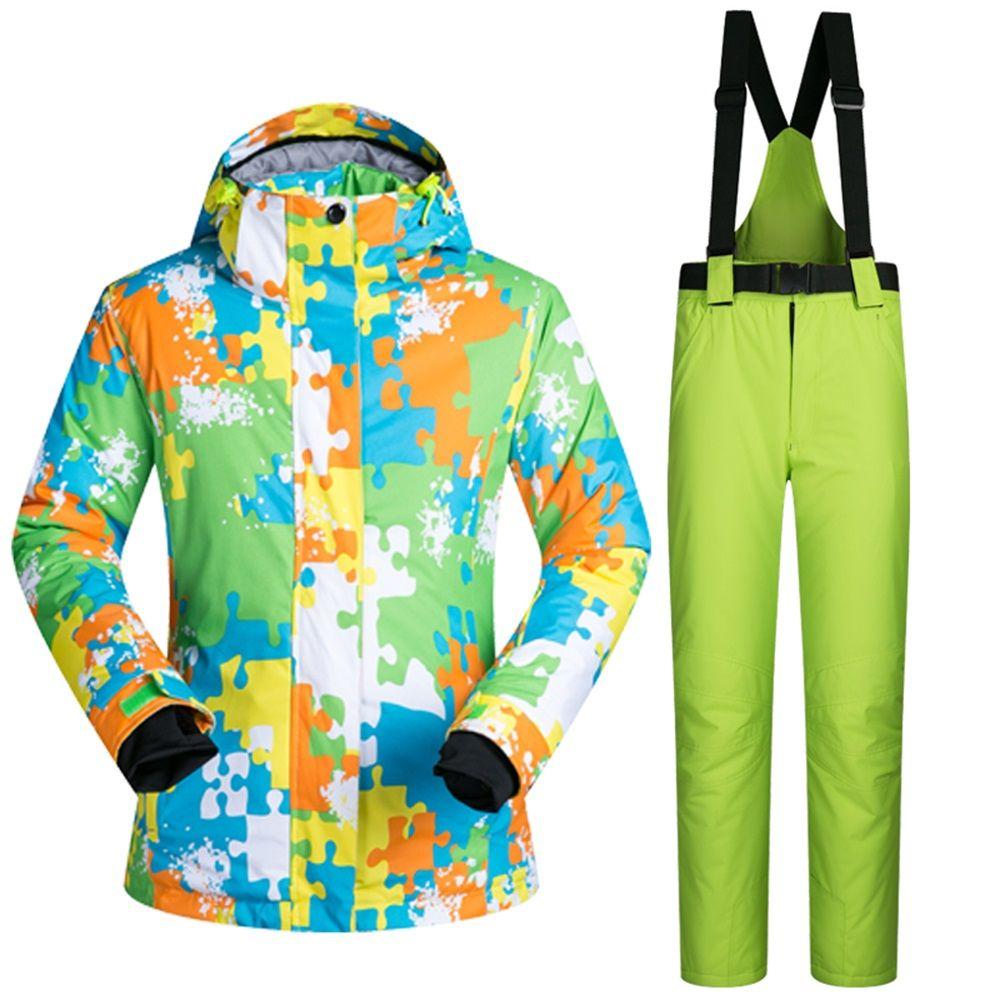 Ski suit set Men Women waterproof windproof ski suit thermal cotton-padded  female skiing outerwear cf0ef91017eaa