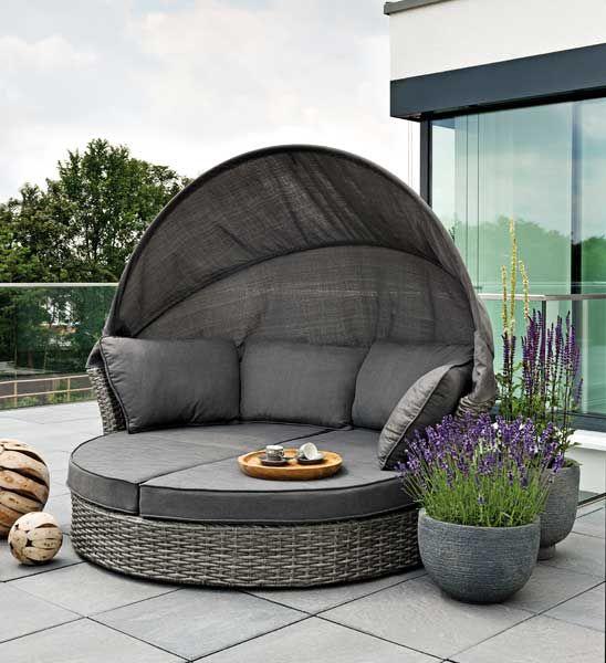 Sonneninsel Polyrattan grau Gartenideen Pinterest Balconies - loungemobel garten grau