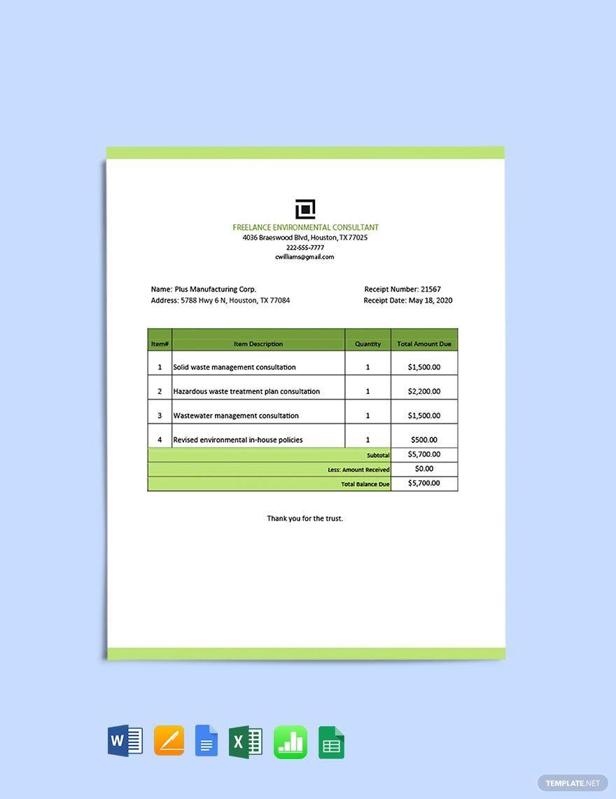 Freelance Consultant Receipt Template In 2020 Receipt Template Google Spreadsheet Document Templates