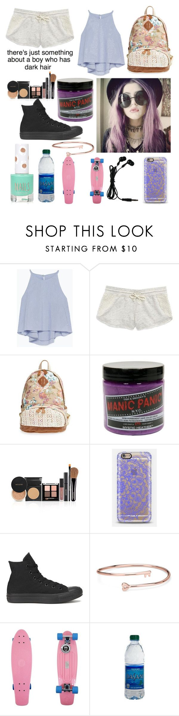 """""""Random set"""" by madelynnlove ❤ liked on Polyvore featuring Zara, Kensie, Nila Anthony, Manic Panic NYC, Casetify, Converse, Blue Nile and Topshop"""