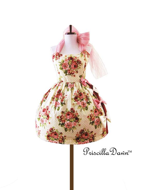 Ready to ship Petite sized Sweet one of a kind Bow pink and cream dress Strawberry Pop Cupcake 1950 Vintage Handmade Bow Dress.
