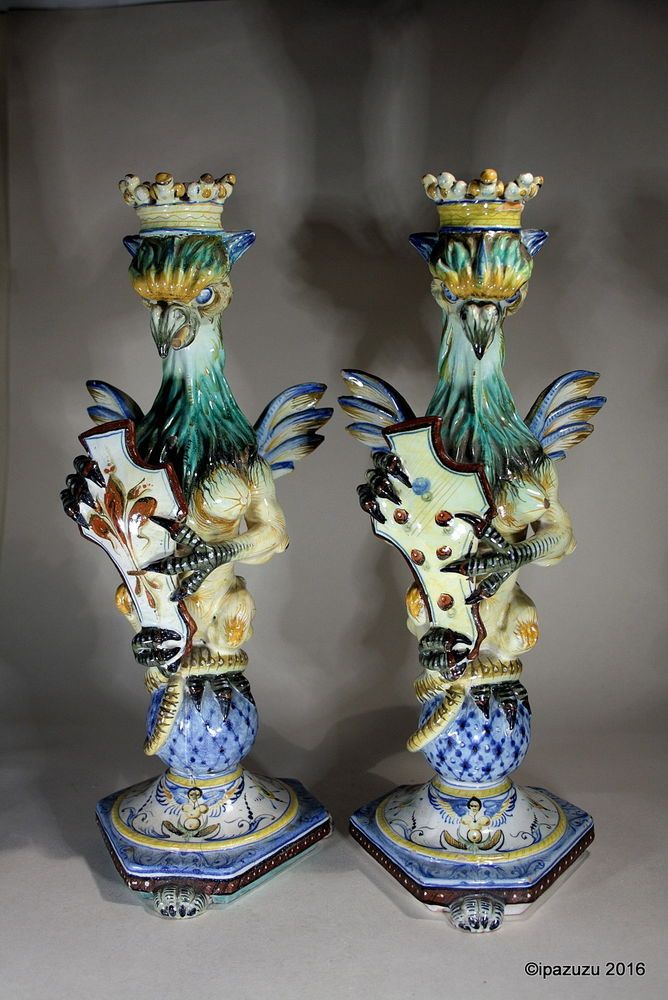 Antique Pr Cantagalli Griffen Maiolica Candlesticks 19th Century