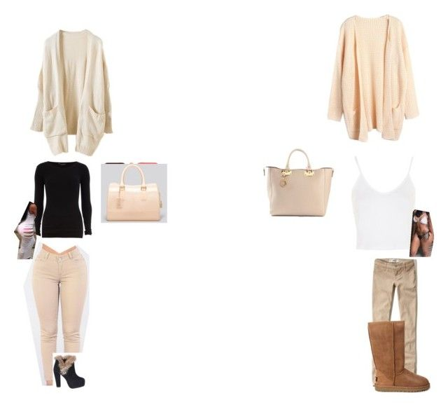 """""""Alexia and i"""" by cupcakecynari ❤ liked on Polyvore featuring Hollister Co., UGG Australia, Dorothy Perkins, Topshop, Lancôme, Furla, Lira and Sophie Hulme"""