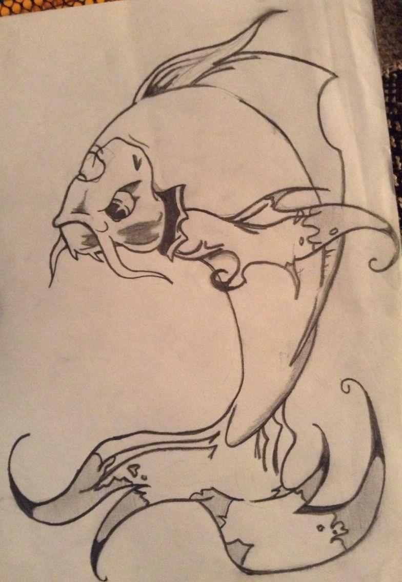 Evil angry koi fish drawing | Drawings, Koi fish drawing ...