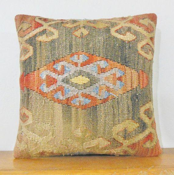 16Turkish cushion throw pillow kilim pillow by KILIMDECOLIC, $15.95