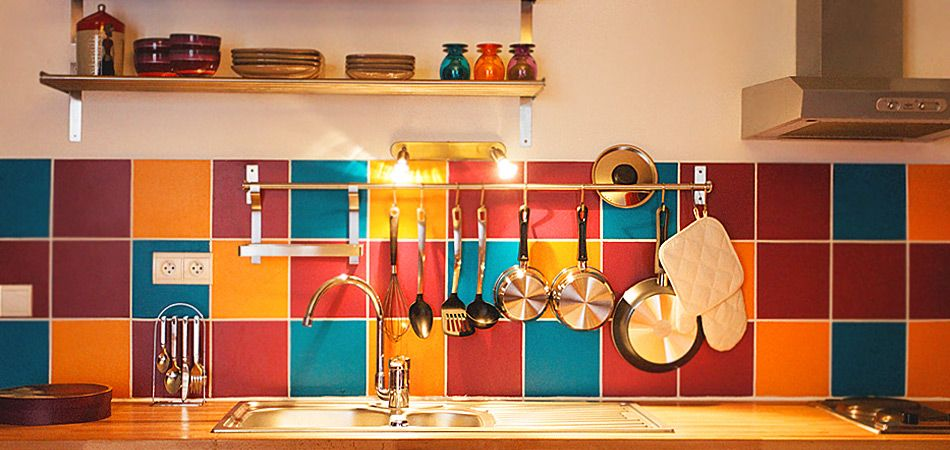 color kitchen - bohemian - i don't like these particular tiles, but i love the idea of using different colored tiles as a backsplash in the kitchen, gives me new ideas!