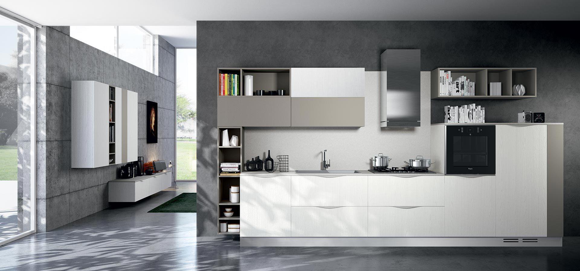 Cucina Moderna - MOON DUNA DIVA Finitura laminato bianco e laccato ...
