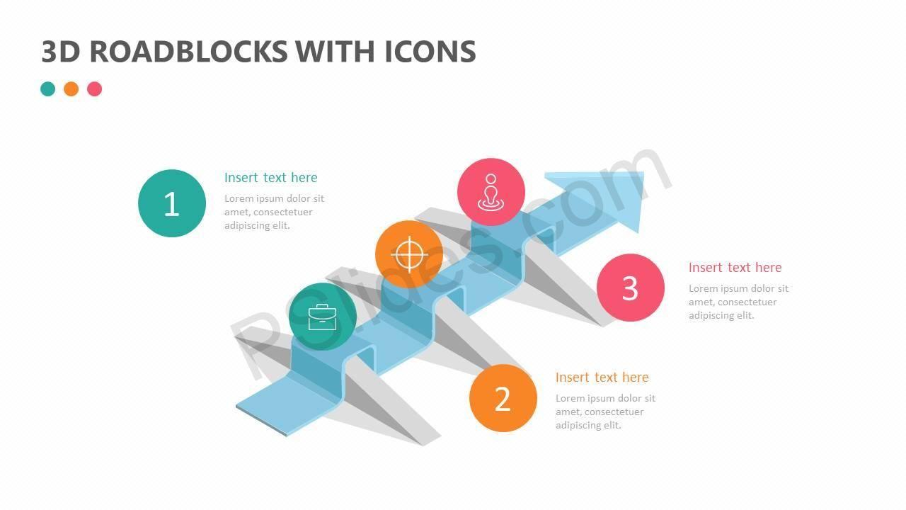 3d Roadblocks With Icons Data Visualization Icon Visualisation