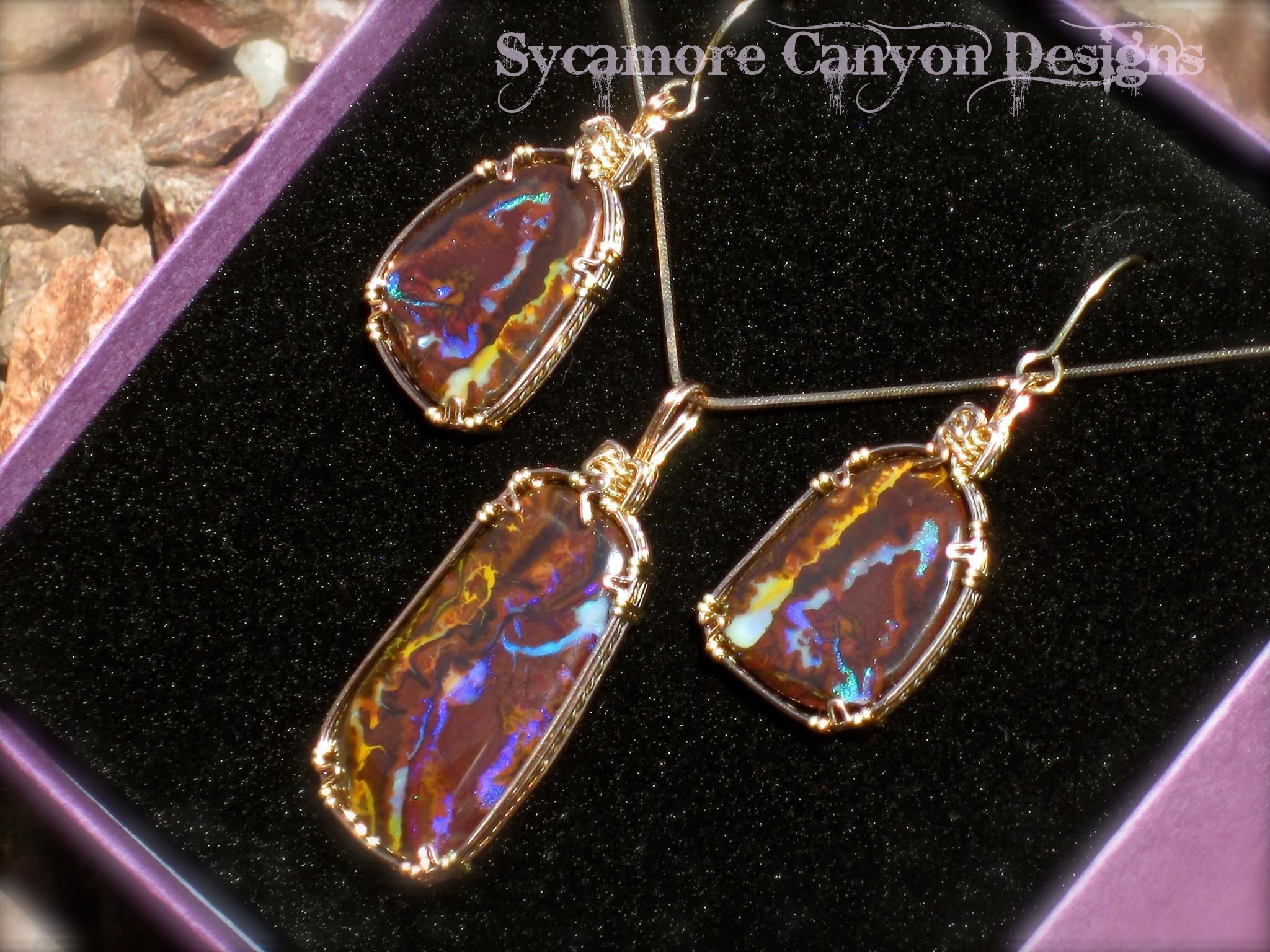 Koroit Boulder Opal set… wrapped in Rose Gold with 14kt Gold filled wire accent.