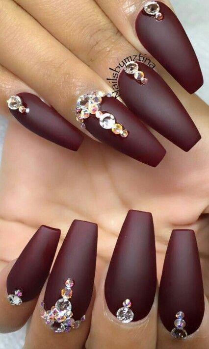 Burgundy Glitz Rhinestone Glam Matte Nails Design Nailart