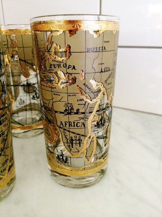 Vintage gold tumblers antique map old world cera tumblers vintage gold tumblers antique map old world cera by comforte gumiabroncs Gallery
