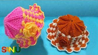 Sombrero tejido a crochet para bebé de 1 año y medio a 2 años paso a paso  en punto abanicos - YouTube 371dfd7ecc6