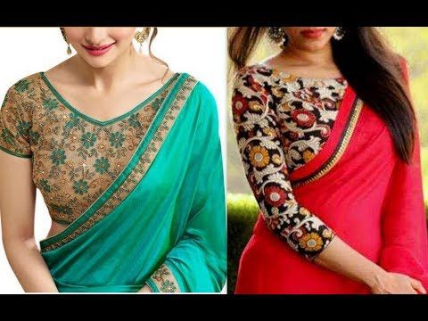 2dd66584e30a0b High Collar neck Saree Blouse Designs 2016 //chinese Collar Neck Blouse  Designs - YouTube