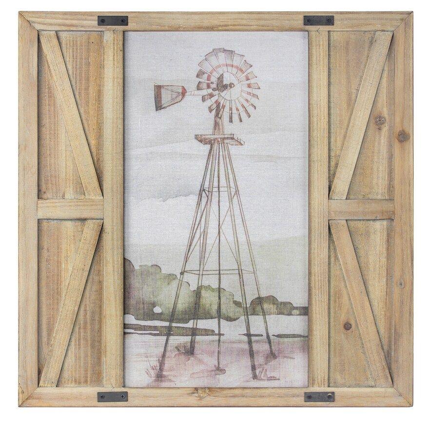 Crystal Art Gallery Windmill Barn Door Framed Wall Decor In 2020 Square Wall Art Frame Wall Decor Frames On Wall