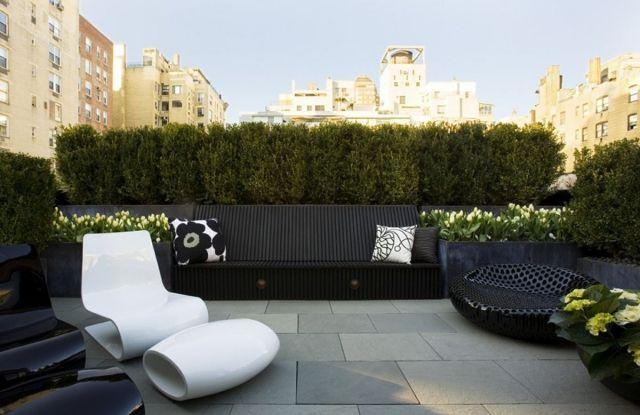 Designer Möbel Dachbalkon Terrasse Einrichtung Bodenbelag Stein Fliesen