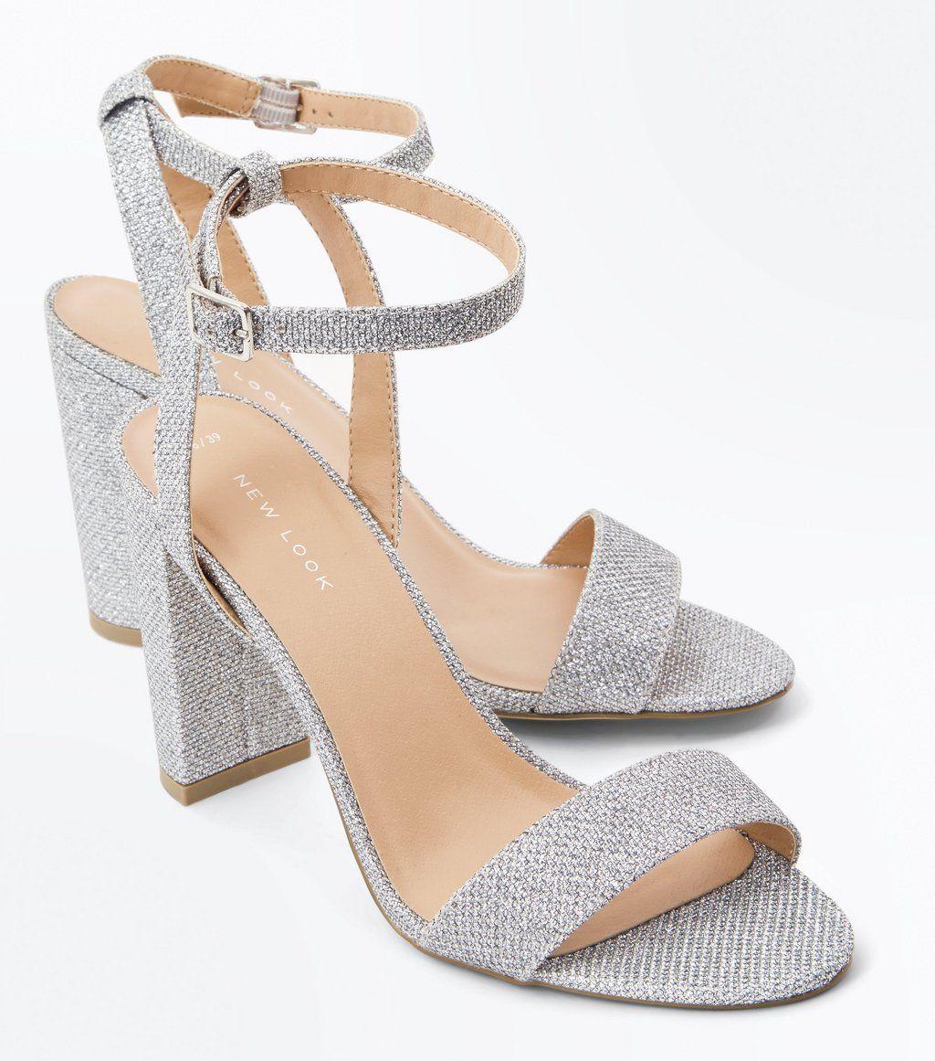 24c564c2cae3 Silver Glitter Block Heel Sandals in 2019