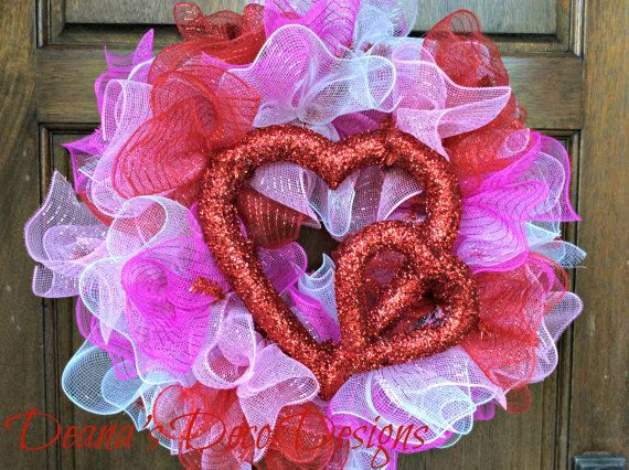 Valentines Day Deco Mesh Ruffle Wreath by DeanasDecoDesigns
