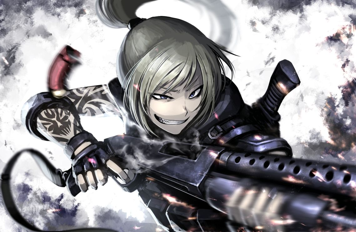 armor blonde_hair blue_eyes gloves gun hellshock original ponytail